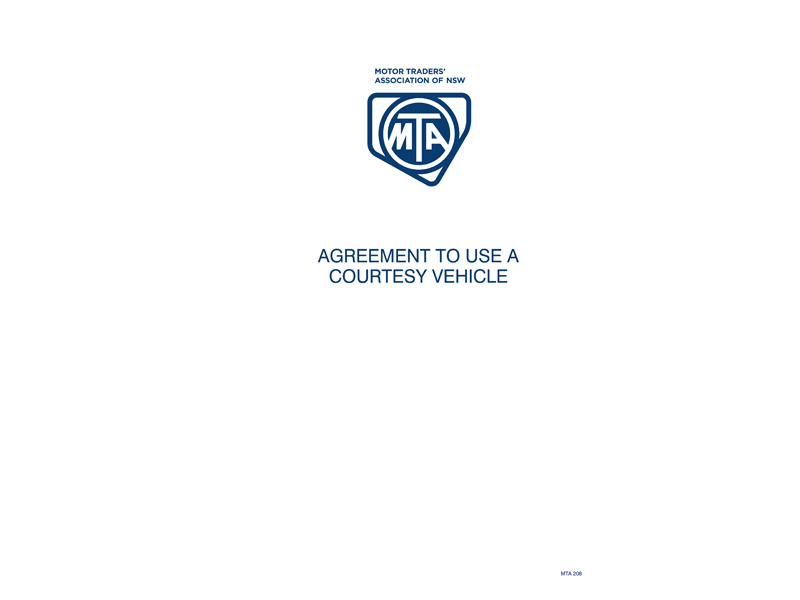 Courtesy Car Agreement Forms Mta Nsw